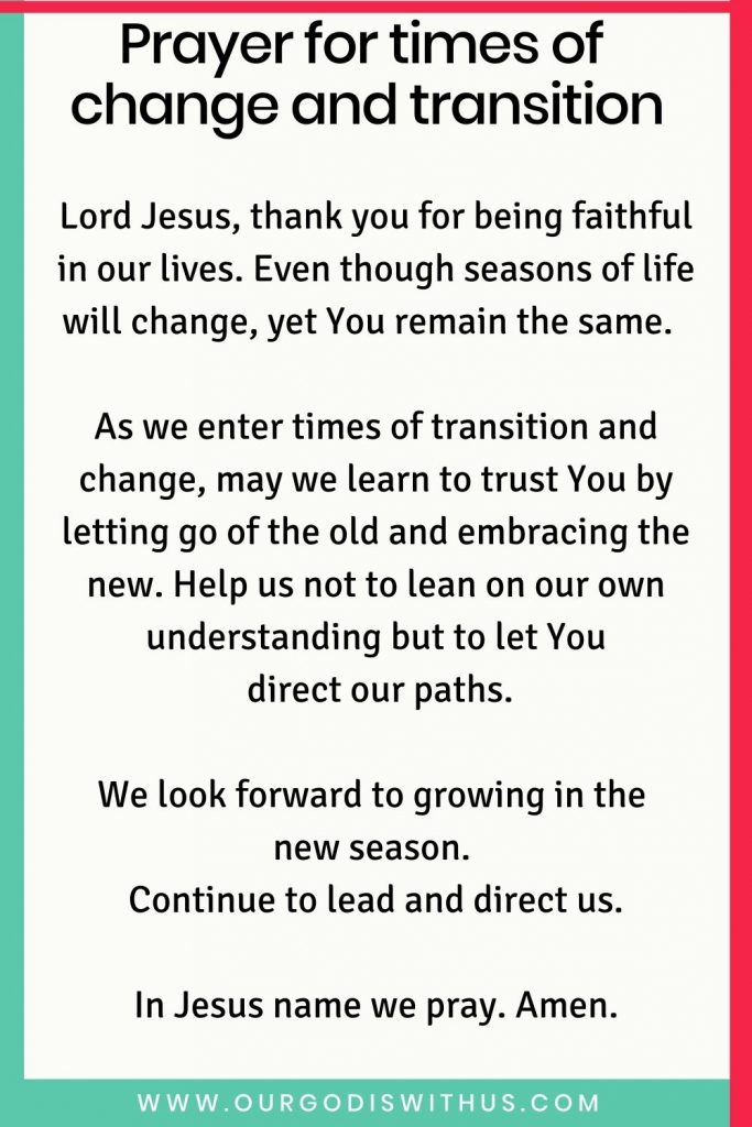 Prayer for times of change and transition
