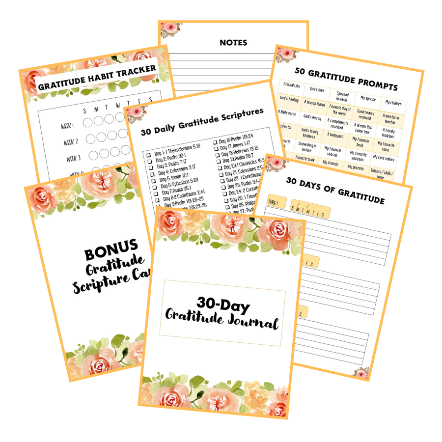 30-Day Gratitude Journal Floral