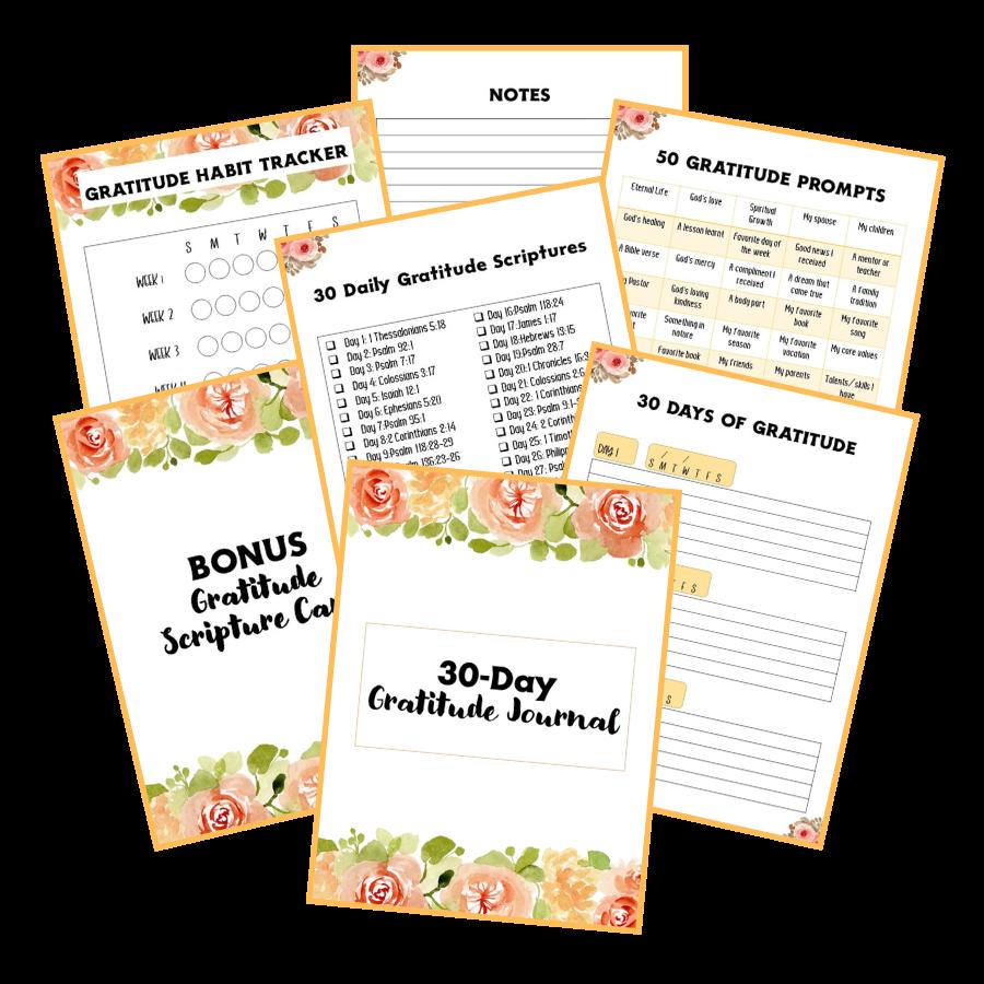 30-Day Gratitude Journal Floral