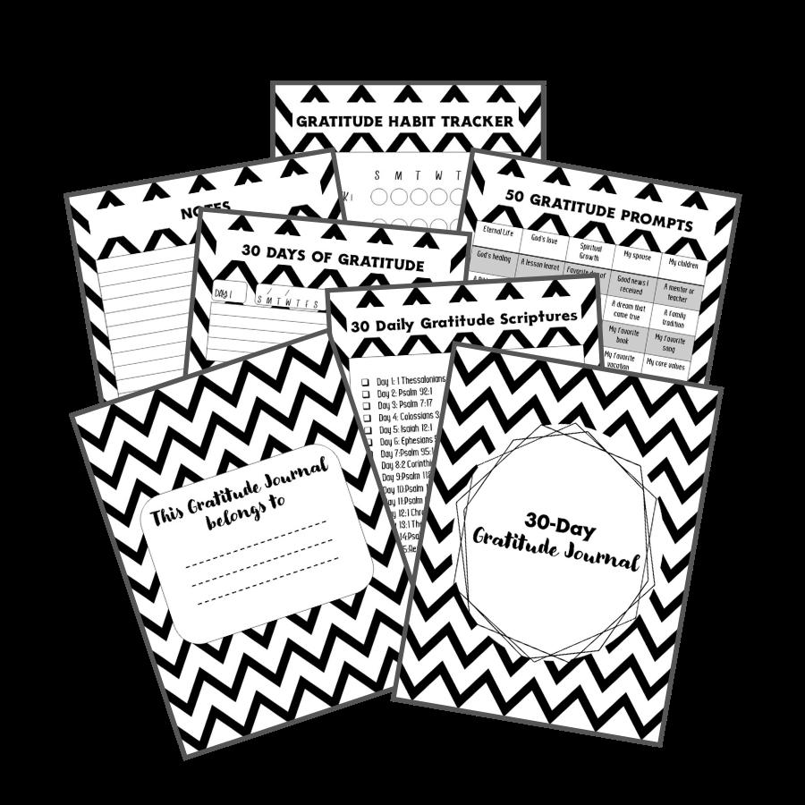 30-Day Gratitude Journal black and white